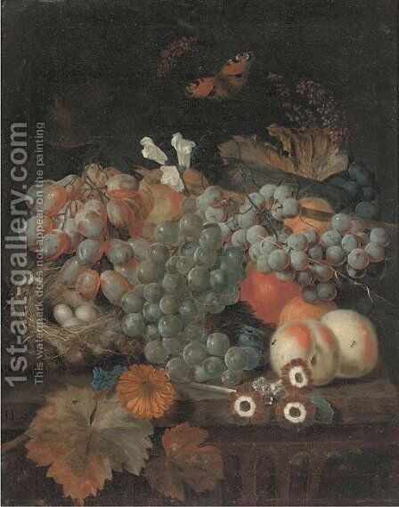 Grapes on the vine, peaches by Jan Baptist Govaerts - Reproduction Oil Painting
