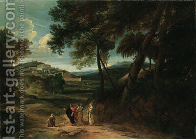 A classical landscape with Christ and the Canaanite Woman by Jan Baptist Huysmans - Reproduction Oil Painting