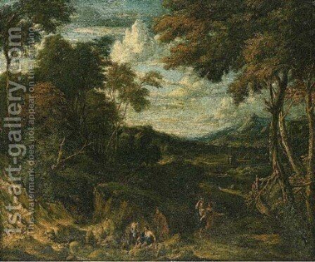 A wooded landscape with classical figures on a path and by a stream, a villa beyond by Jan Baptist Huysmans - Reproduction Oil Painting