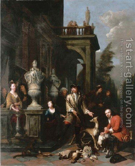 A family hunting group outside a Neoclassical mansion by Jan Baptist Lambrechts - Reproduction Oil Painting