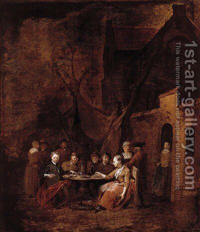 Country folk seated at tables outside inns by Jan Baptist Lambrechts - Reproduction Oil Painting