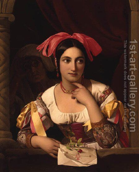 The love letter by Jan Baptist Lodewijk Maes - Reproduction Oil Painting