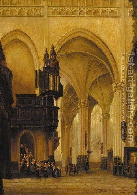 A church interior with figures by Jan-Baptiste Tetar van Elven - Reproduction Oil Painting