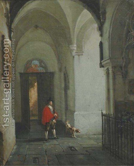 In the cloister by Jan-Baptiste Tetar van Elven - Reproduction Oil Painting
