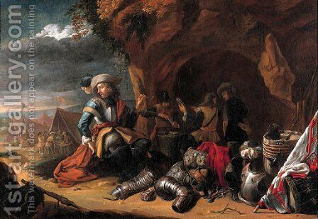 An officer smoking a pipe by a grotto by Jan Baptist Tyssens - Reproduction Oil Painting