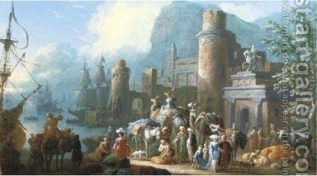 A capriccio view of a Levant harbour with travellers, camels and other animals on a quay by Jan Baptist van der Meiren - Reproduction Oil Painting