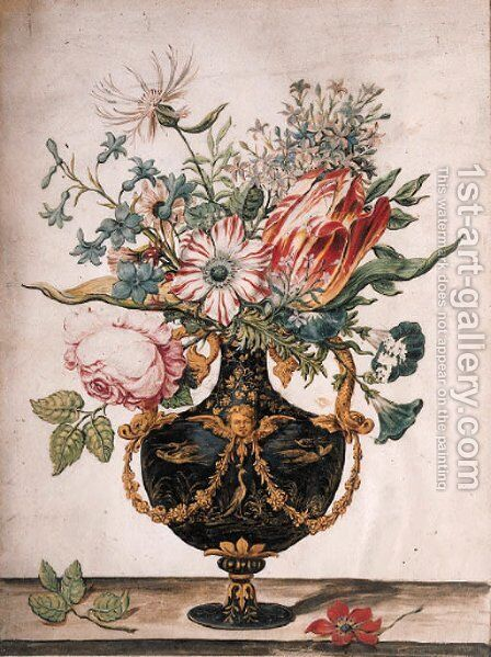 Flowers in a decorative urn by Jan Baptist van Fornenburgh - Reproduction Oil Painting