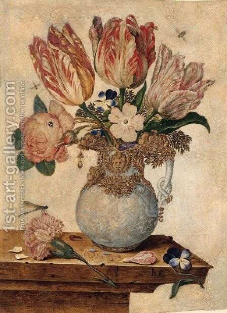 Tulips by Jan Baptist van Fornenburgh - Reproduction Oil Painting