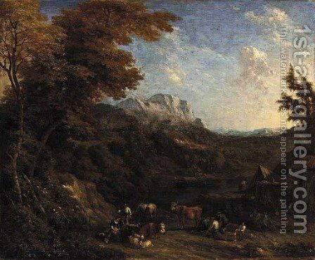 A wooded landscape with peasants and their livestock resting by a river by Jacob Huysmans - Reproduction Oil Painting