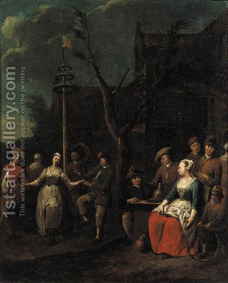 Boors dancing around a maypole by Jan Baptist Lambrechts - Reproduction Oil Painting