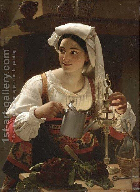 A Young Maiden filling an Oil Lamp by Jan Baptist Lodewyck Maes - Reproduction Oil Painting