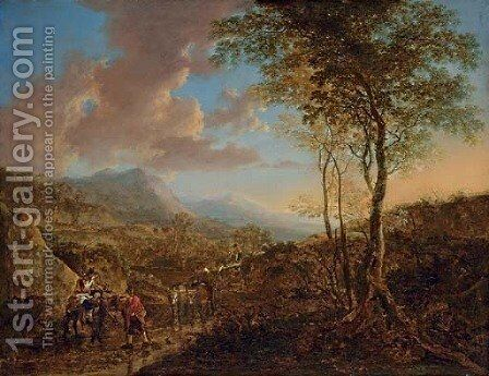 An Italianate landscape with peasants on a path by Jan Both - Reproduction Oil Painting
