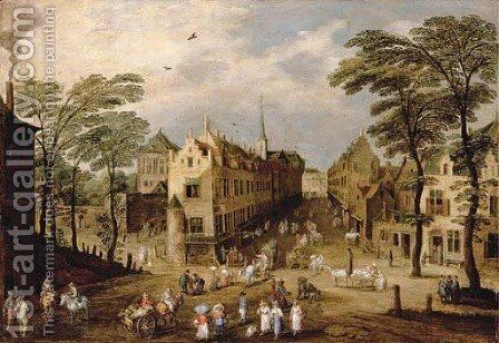 A town landscape with company, townsfolk and wagoners by Jan The Elder Brueghel - Reproduction Oil Painting