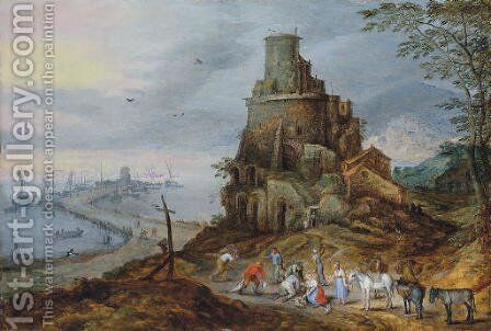A coastal landscape with fishermen with their catch by a ruined tower by Jan, the Younger Brueghel - Reproduction Oil Painting