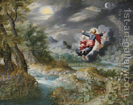 God creating the Sun, the Moon and the Stars in the Firmament by Jan, the Younger Brueghel - Reproduction Oil Painting
