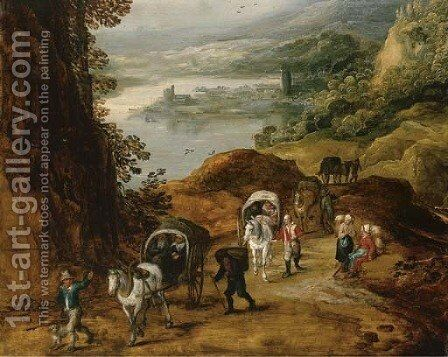 Travelers on a mountain path by Jan, the Younger Brueghel - Reproduction Oil Painting
