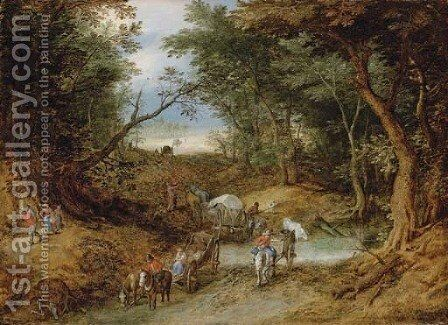 A wooded landscape with travellers on a path by Jan The Elder Brueghel - Reproduction Oil Painting