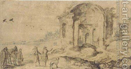 View of the ruins at Pozzuoli with travellers on a road by Jan The Elder Brueghel - Reproduction Oil Painting