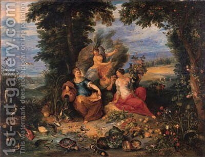 The Four Elements in a wooded coastal landscape by Jan, the Younger Brueghel - Reproduction Oil Painting