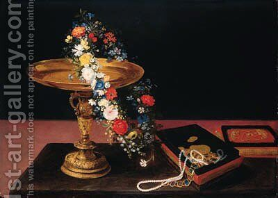 A garland of mixed flowers around a silver gilt tazza and a casket on a table by Jan, the Younger Brueghel - Reproduction Oil Painting
