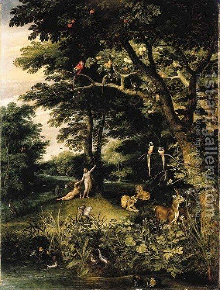 Adam and Eve in the Garden of Eden by Jan, the Younger Brueghel - Reproduction Oil Painting