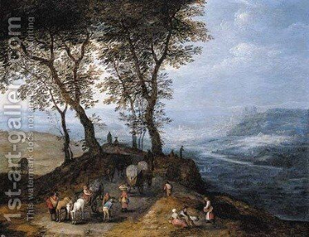 An extensive landscape with travellers on a path overlooking a valley, a city beyond by Jan, the Younger Brueghel - Reproduction Oil Painting