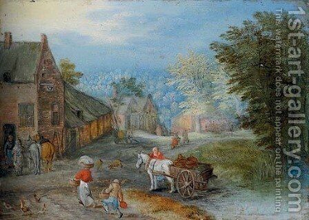 A village street with figures leading a horse and cart by Jan, the Younger Brueghel - Reproduction Oil Painting