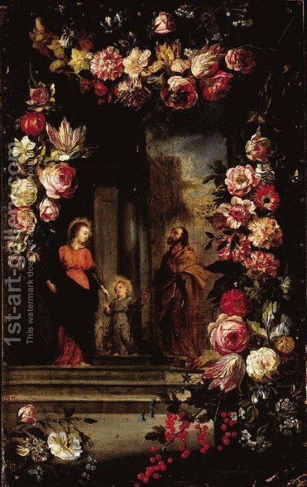 A garland of flowers surrounding The Holy Family by Jan, the Younger Brueghel - Reproduction Oil Painting