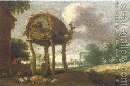 A dovecote in a wooded landscape by Jan Christiaensz. Micker - Reproduction Oil Painting
