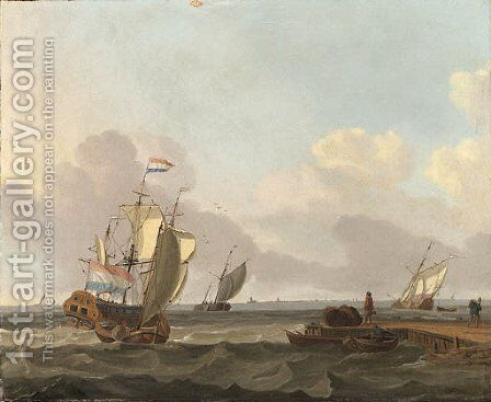 Shipping in a Choppy Sea off a Jetty by Jan Claes Rietschoof - Reproduction Oil Painting