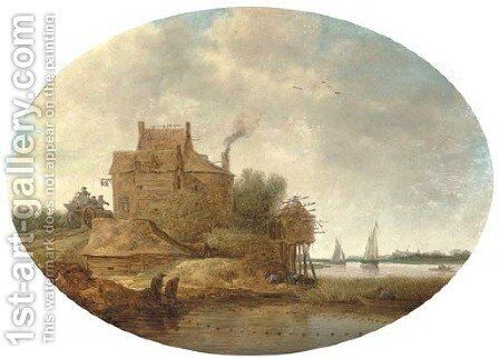 A river landscape with peasants fishing near an inn by Jan Coelenbier - Reproduction Oil Painting