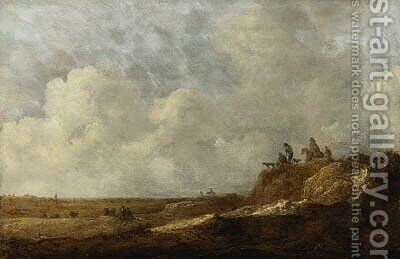 An extensive landscape with peasants on a sandy bluff by Jan Coelenbier - Reproduction Oil Painting