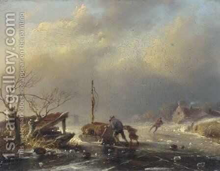 Peasants pushing a sledge on a frozen river by Jan David Geerling Grootveld - Reproduction Oil Painting