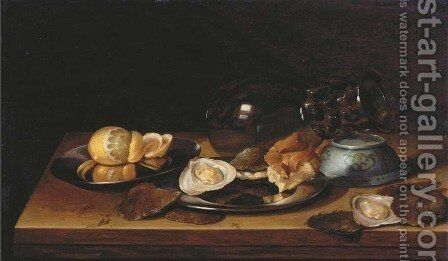 An upturned roemer and Chinese bowl by Jan Davidsz. De Heem - Reproduction Oil Painting