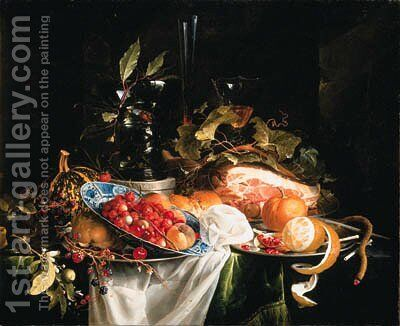 Strawberries and peaches by Jan Davidsz. De Heem - Reproduction Oil Painting