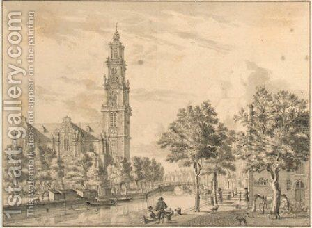 The Westerkerk on the Prinsengracht, Amsterdam, seen from the corner of the Bloemgracht by Jan De Beyer - Reproduction Oil Painting