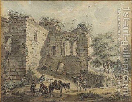 Travellers and peasants with a packhorse on a road by a ruined villa; and A horseman and peasants by a vaulted ruin by Jan De Beyer - Reproduction Oil Painting