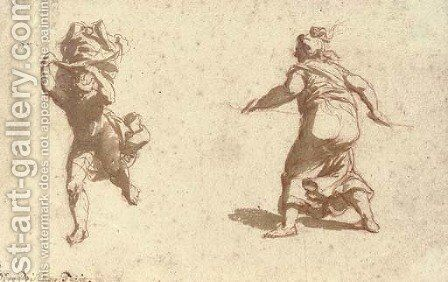 A running figure with flying draperies, and a female figure seen from behind by Jan de Bisschop - Reproduction Oil Painting