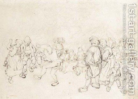 Peasants dancing at a village feast by Jan Hendrick van Grootvelt - Reproduction Oil Painting