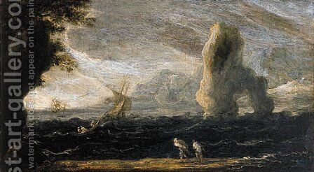 A rocky coastal landscape with fishermen hauling in their nets, as a storm approaches by Jan de Momper - Reproduction Oil Painting