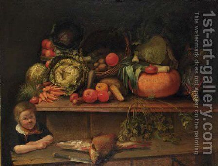 A boy standing by a kitchen still life by Jan Derk Huibers - Reproduction Oil Painting