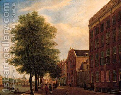 A view of the Prins Hendrikkade, Amsterdam by Jan, II Ekels - Reproduction Oil Painting