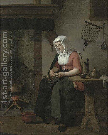 A woman seated in a kitchen peeling apples by Jan the Younger Ekels - Reproduction Oil Painting
