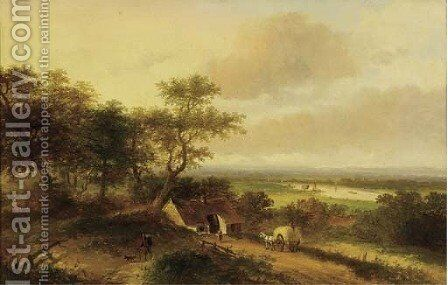 A haycart by a farm in a panoramic river landscape by Jan Evert Morel - Reproduction Oil Painting