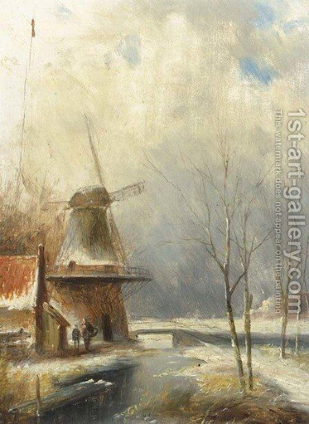 A winter landscape with peasants conversing by a windmill by Jan Evert Morel - Reproduction Oil Painting