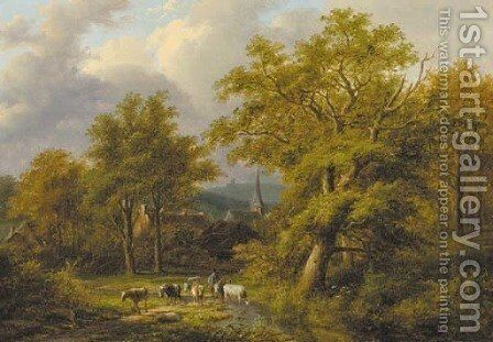 A wooded landscape with a herdsman with flock by Jan Evert Morel - Reproduction Oil Painting