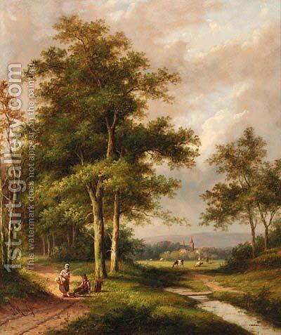 A wooded river landscape with travellers by Jan Evert Morel - Reproduction Oil Painting