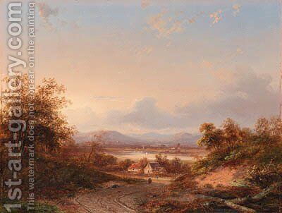 An extensive landscape at dusk by Jan Evert Morel - Reproduction Oil Painting