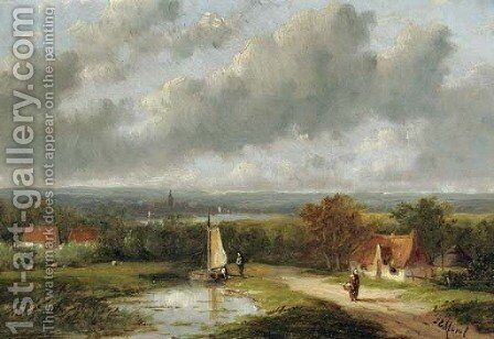 A panoramic summer landscape by Jan Evert Morel - Reproduction Oil Painting
