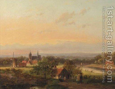 Panoramic landscape by Jan Evert Morel - Reproduction Oil Painting